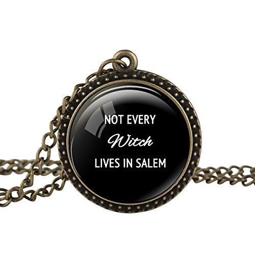 FM FM42 Vintage Style Witch Halloween Quote Round Pendant Necklace TN2740