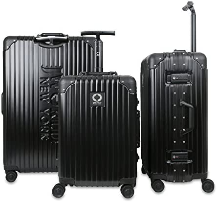 J World New York Slite Hardside 3 Piece Spinner Luggage Set, Black, One Size