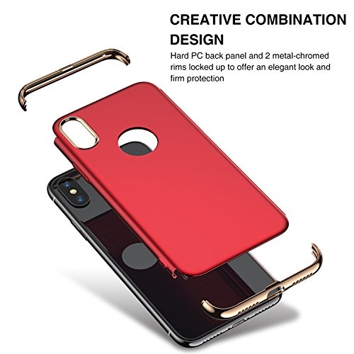 851fa00c3e45 RANVOO iPhone X Case, iPhone 10 case 3 in 1 Slim Hard Thin Stylish Case  Matte Surface 3 Detachable Parts Cover (2017), Red