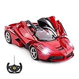 (US) RASTAR RC Car | 1/14 Scale Ferrari LaFerrari Radio Remote Control R/C Toy Car Model Vehicle for Boys Kids, Red