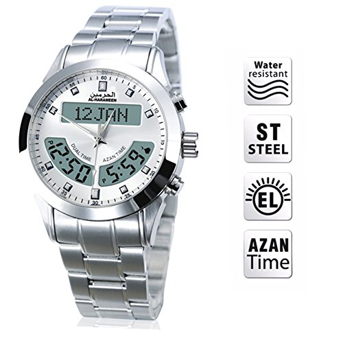 EQ Muslim Azan Watch Arabic And English Bilingual Language Waterproof Digital Quartz Calendar Watch With Automatic Prayer Compass by EQ
