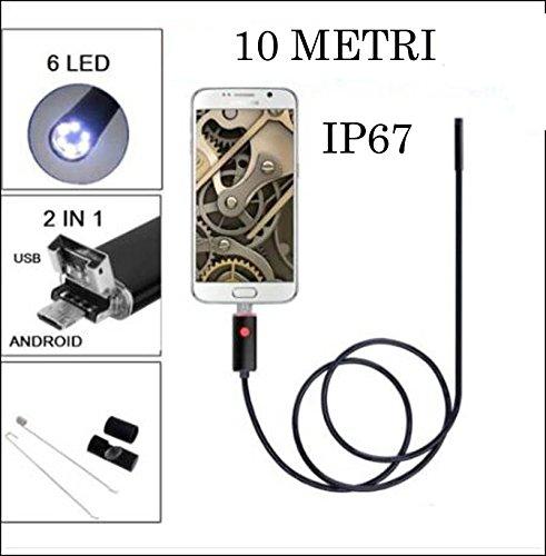 Camé ra endoscopique 10 mt. USB/Micro USB 6 LED Diamè tre 6 mm enterelettronics