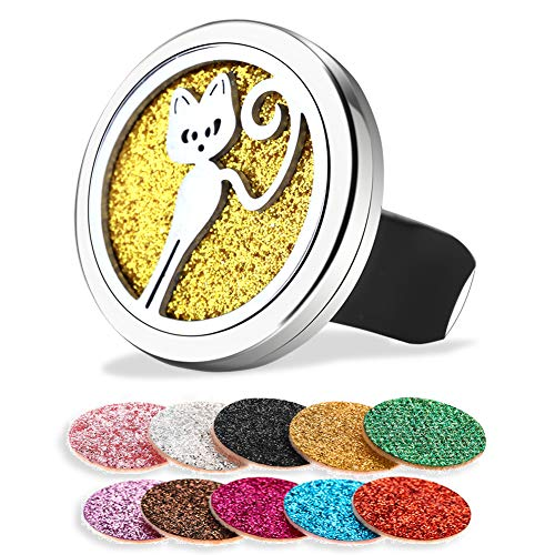 Soleebee Car Aromatherapy Essential Oil Diffuser Vent Clip 316L Stainless Steel Locket Car Diffuser with 10 Colors Felt Pads (Cute Cat)