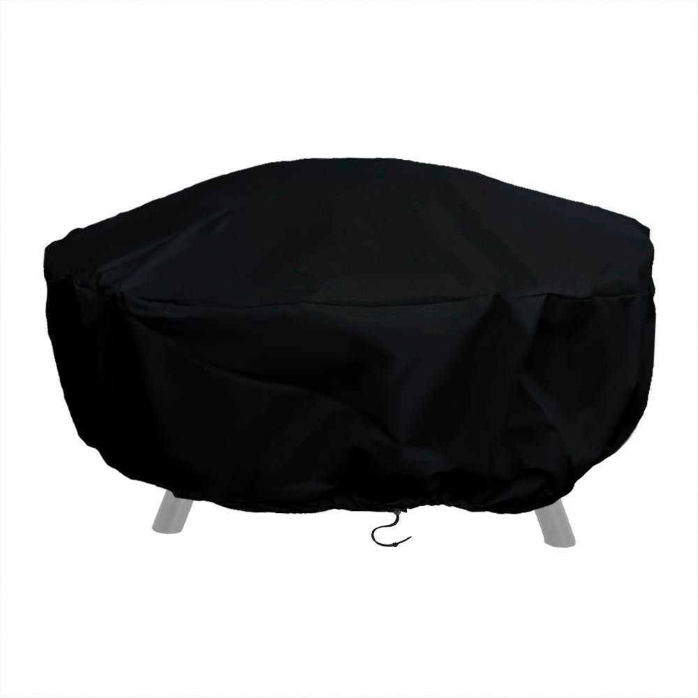Sunnydaze Outdoor Round Fire Pit Cover with Drawstring and Toggle Closure - Heavy Duty Weather-Resistant and Waterproof Black 300D Polyester and PVC - 60 Inch Diameter Protective Fire Pit Accessory by Sunnydaze Decor