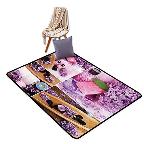 Price comparison product image Durable Square Rug Home Decor Collection Aromatic Spa with Lilac Petals Fresh Therapy Oils Bath Salt Soap Relax Theme Meditation Collage Easy to Care Violet, W47 xL71