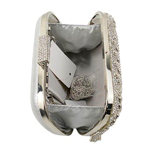 Nuevo Diamante Rosa Diamantes Borlas Paquete De Banquetes Europa Y Los Estados Unidos La Moda Bolso De Noche La Novia La Mano Llevar Bolsos Vestido Silver
