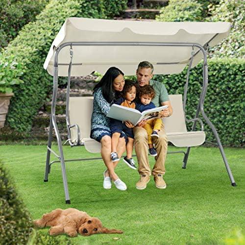 Gartenschaukel mit Sonnendach Hollywoodschaukel f/ür 3-Sitzer f/ür Garten Terrasse 160 x 170 x 110 cm in Schwarzgrau bis 220 kg