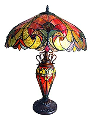Chloe Lighting CH18780VR18-DT3 Tiffany Liaison, Tiffany-style Victorian 3 Light Double Lit Table Lamp 18-Inch Shade, Multi-colored