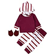 Baby Boys Girls Cute Outfit Set Striped Long Sleeve Hoodie (3-6 Months)