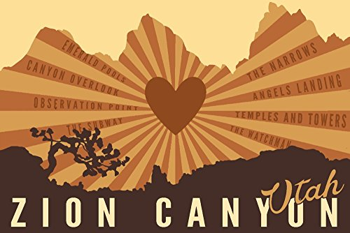 (Zion National Park, Utah - Mountains with Rays and Heart (16x24 SIGNED Print Master Giclee Print w/Certificate of Authenticity - Wall Decor Travel Poster))