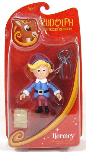 Rudolph the Red Nosed Reindeer Hermey the Elf Action Figure with Removable Hat, Pliers, and Dentistry Book