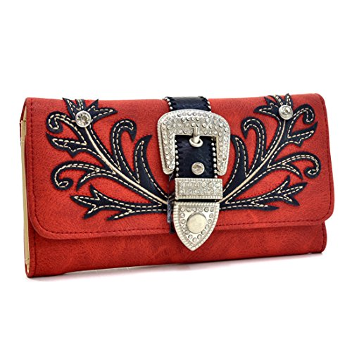 Embroidered Western Tri-fold Checkbook Wallet with Rhinestone Buckle