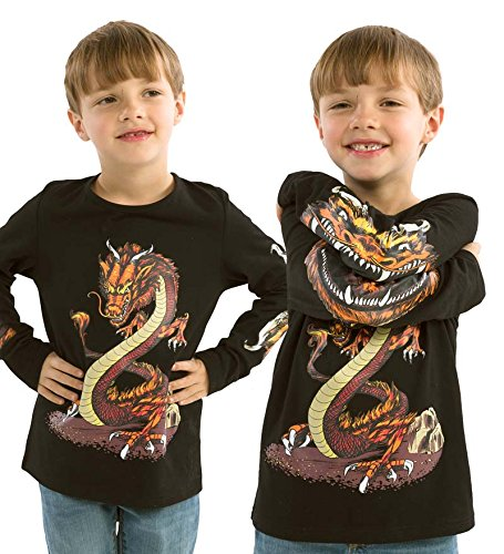 Cool Kids Dark T-shirt (HearthSong Glow Wild Chompomorphous Children's T-Shirt Glow in The Dark Cotton Tee Dragon Size Youth 10)
