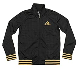 adidas Youth Coordinate Full Zip Athletic Track Jacket, Black (Medium (10/12))