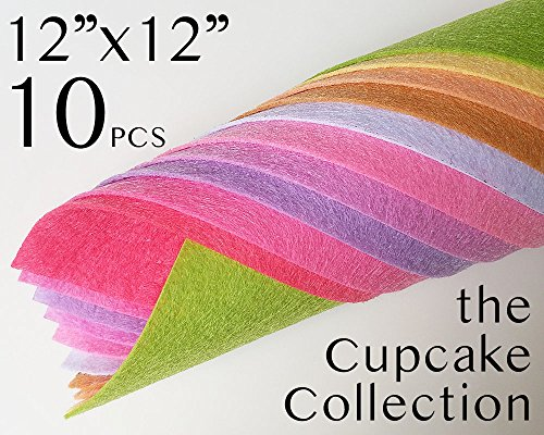 10pcs the Cupcake Colours Collection Polyester Felt Sheets Handmade Crafts 12