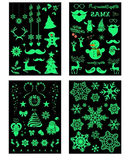 Christmas Tattoo Luminous Tattoo Glow In The Dark Glitter Flash Fluorescent Temporary Tattoos Stickers Water Transfer Body Art -