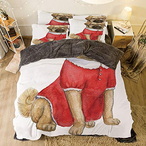 Flannel Duvet Cover Set 4 Pieces Bedlinen Winter Holiday Pattern for Bed Width 6.6ft Pattern by,Pug,Cute Dog in Red Dress Animal Cartoon Style Design Funny Pet Picture Print,Pale Brown Red Brown