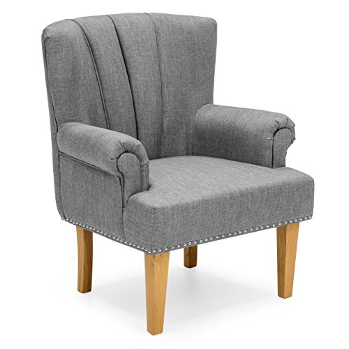 Best Choice Products Living Room Accent Chair w/Nailhead Detail, Linen Upholstery, Armrest, and Wood Legs (Gray) by Best Choice Products