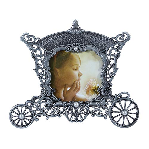 elegantstunning 3Inches Vintage Metal Carriage Photo Frame Decorative Baby Picture Frames,Antique Silver