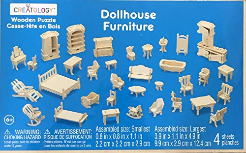 Creatology WOODEN Puzzle Dollhouse Furniture w 4 Wood PRE-Cut Sheets of Doll House Furniture Pieces
