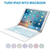 iPad Pro 12.9 inch Keyboard with 7-Colors Backlight, Raydem Ultra Slim Wireless Bluetooth Keyboard Folio 130 Degree Multi-Angle with Auto Wake/Sleep for Apple iPad Pro 12.9 inch(All Versions) White