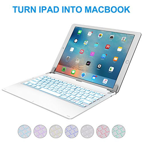 iPad Pro 12.9 inch Keyboard with 7-Colors Backlight, Raydem Ultra Slim Wireless Bluetooth Keyboard Folio 130 Degree Multi-Angle with Auto Wake/Sleep for Apple iPad Pro 12.9 inch(All Versions) White by Raydem