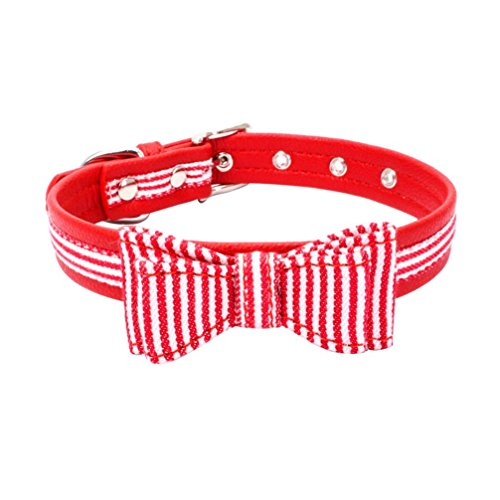 Wakeu Pet Collar, Small Dog Collars Stripe Plaid with Bow Tie Necklace Puppy Cat (M, Red+White Stripe) ()