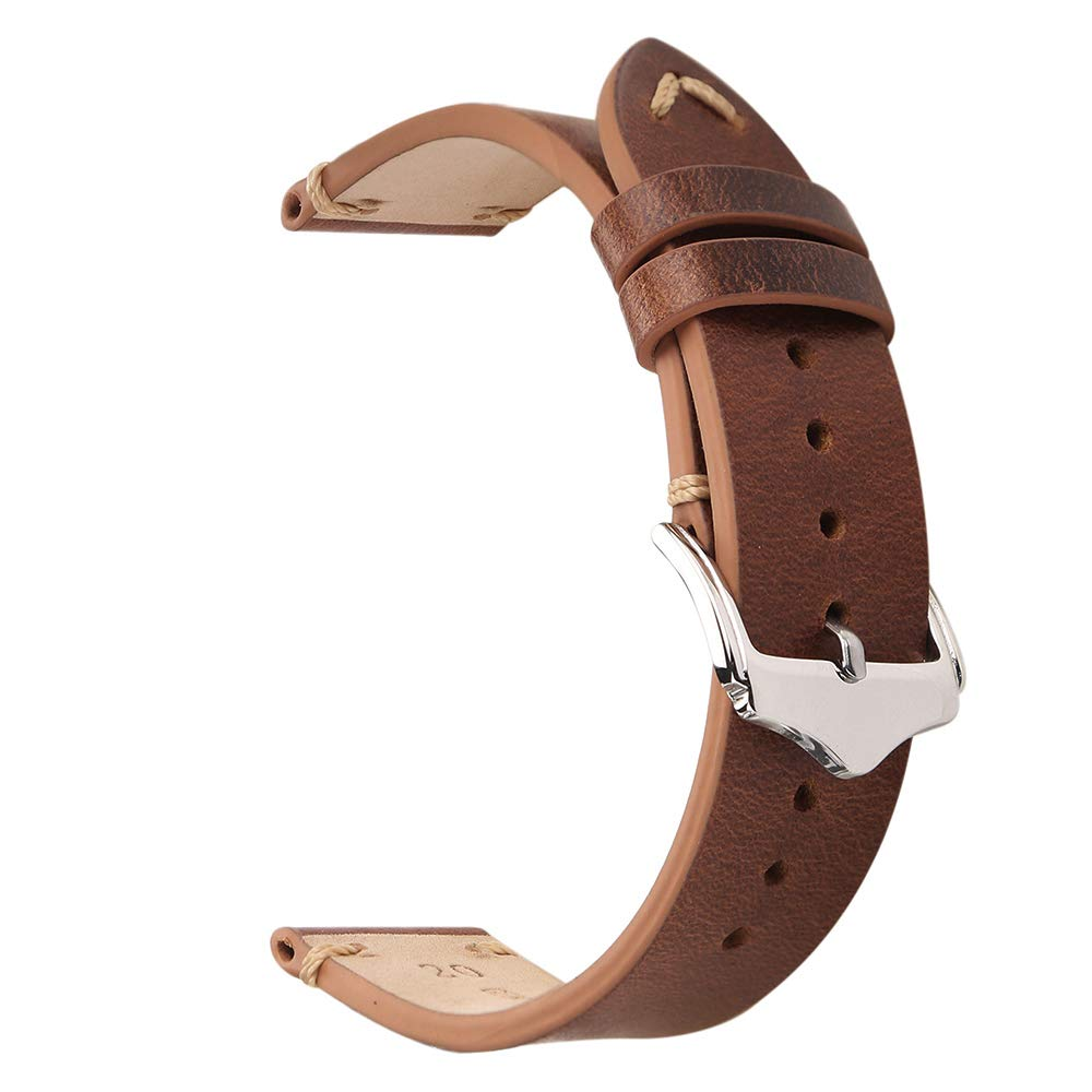 EACHE 20mm Genuine Leather Watch Band Light Brown Oil Wax Natural Crack Leather Replacement Straps