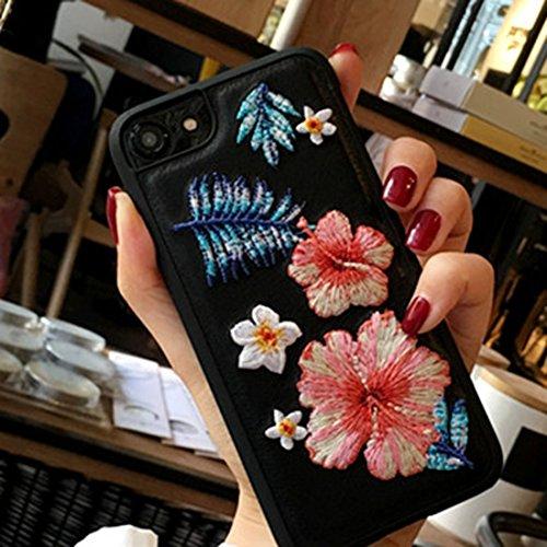 Hülle für iPhone 7 ,Schutzhülle Für iPhone 7 Stickerei Blumen PU Leder Schutzhülle Abdeckung Hard Case ,cover für apple iPhone 7,case for iphone 7 ( Color : Black )