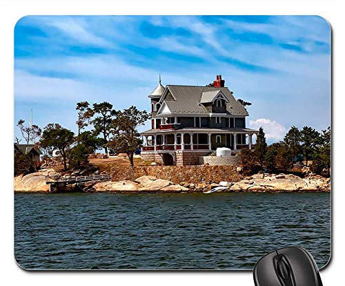 (Mouse Pad - Thimble Islands Island House Home Vacation Holiday)