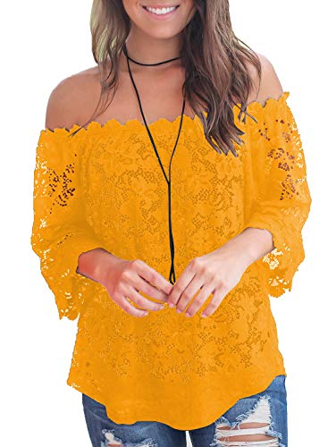 MIHOLL Women's Lace Off Shoulder Tops Casual Loose Blouse Shirts (Yellow, X-Large) ()