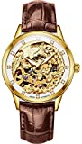 PASOY Womens Automatic Mechanical Watches Diamond Gold Dila Brown Leather Bnad Phoenix Skeleton Watch