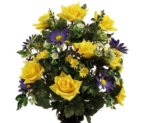 DELUXE OPEN ROSE and DAISY VASE in YELLOW and BLUE for Grave-site Presentation in Remembrance of Loved Ones.