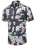 Youstar Beach Hawaiian Tropical Caribbean Print Button Down Shirt Black Floral Size L