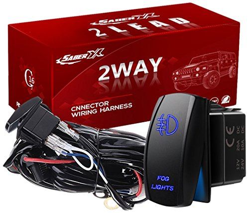 SABER X 2 Lead Rubicon LED Offroad Light Bar Wiring Harness Kit SPDT 40Amp/12V Fuse Relay On-off