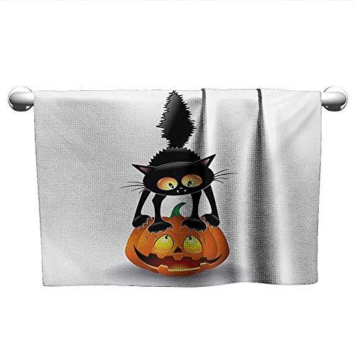alisoso Halloween,Kids Bath Towels Black Cat on Pumpkin Drawing Spooky Cartoon Characters Halloween Humor Art Quick-Dry Towels Orange Black W 10