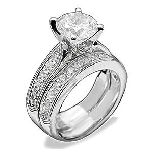 Pave 2 Carat Simulated Diamond Ring Set Designer Solid 925 Silver