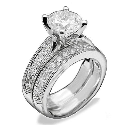 (PAVE 2 CARAT SIMULATED DIAMOND RING SET DESIGNER SOLID 925 SILVER)