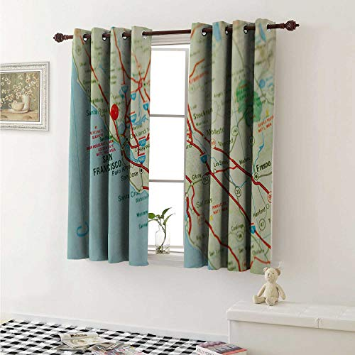 Map Waterproof Window Curtain Vintage Map of San Francisco Bay Area with Red Pin City Travel Location Curtains for Party Decoration W84 x L72 Inch Pale Blue Pale Green Red