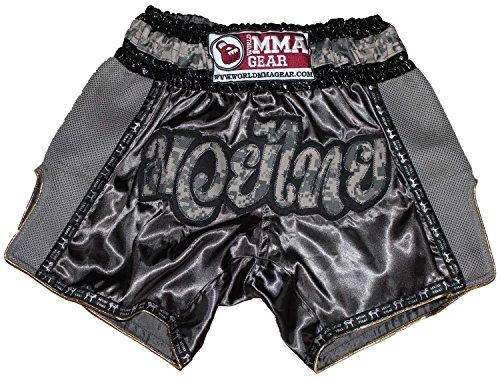 Retro Muay Thai shorts Camo Camouflage Kickboxing Thai boxing trunks by World MMA Gear (L (30