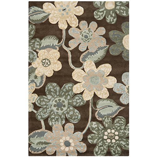 Safavieh Bella Collection BEL220A Handmade Brown and Multi Premium Wool Area Rug (8' x 10') (Rug Area Tropical Floral Wool)