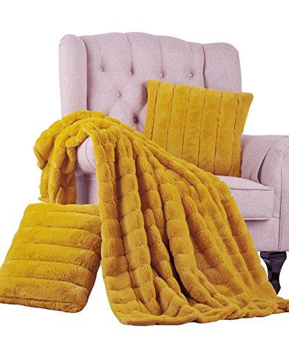 BOON Rabbit Fur Throw with 2 Pillow Combo Set, 50