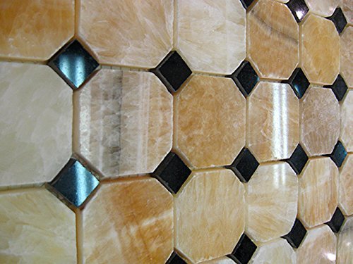 Wallandtile Honey Onyx Octagon Polished Mosaic Tile