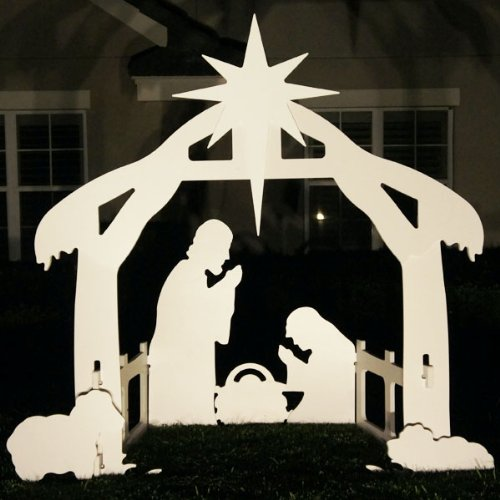 Teak Isle Christmas Outdoor Nativity Set, Yard Scene, Large