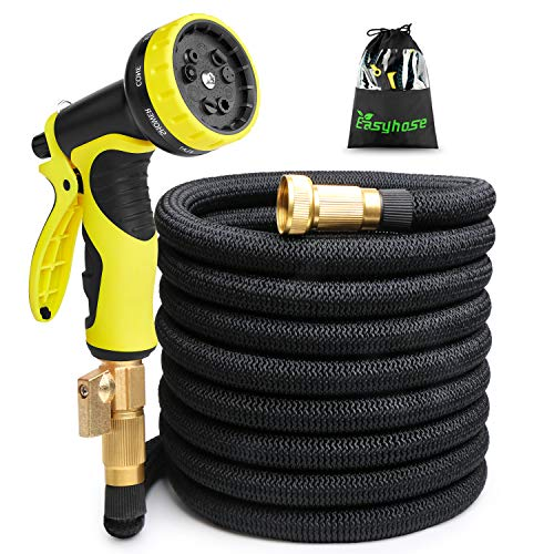 - 25ft Expandable Garden Hose, Expandable water Hoses with 3/4 inch Strong Solid Brass Connector, 9 Function Expanding Hoses Nozzle Flexible Lightweight Gardening Hose Outdoor Yard Hoses No-kink(Black)