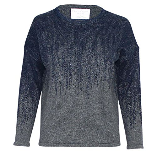 Fine Collection Womens Ombre Crewneck Sweater Heather Grey/Navy XS by Fine Collection (Image #4)
