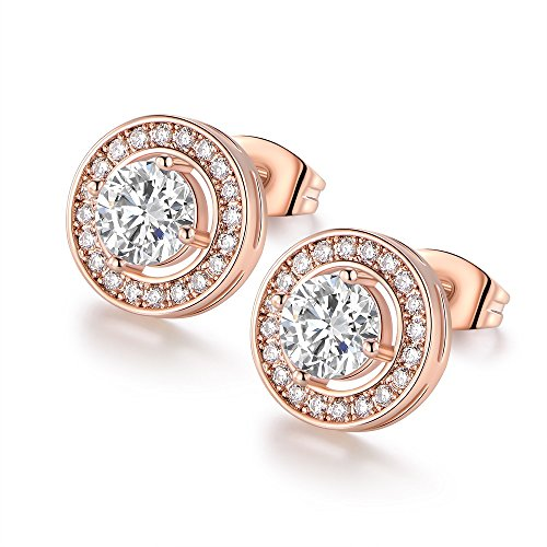 VOLUKA Particular Rose Gold Tone Round Shape Crystal CZ Diamond Stud Earrings for Women