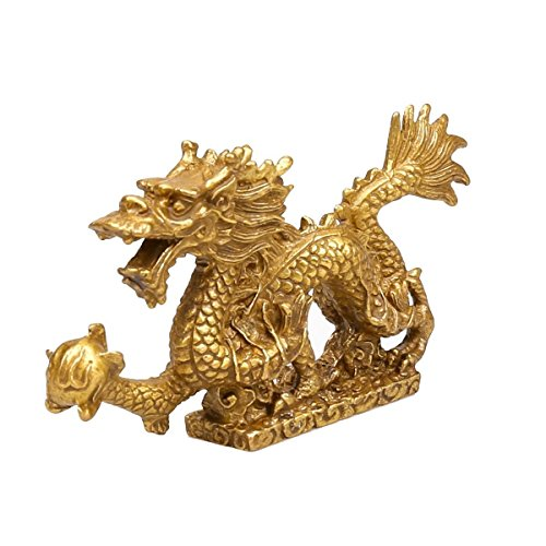 (LuckyBuddha Fengshui Products,Brass Dragon Statues and Sculptures for Home Decor,Chinese Dragon Figurines (4.8