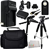 Essential Accessory Kit for Canon EOS 5D Mark III, 60D, 70D, 6D, & 7D Mark II. Includes Replacement LP-E6 Battery + AC/DC Rapid Travel Charger + Full Size Tripod + Pistol Grip/Table Top Tripod + Micro HDMI Cable + Wireless Remote + MORE