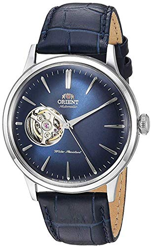 Orient Men's 'Bambino Open Heart' Japanese Automatic Stainless Steel and Leather Dress Watch